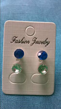 0042 - 2 sets of 925 Earrings Blue and Diamonte
