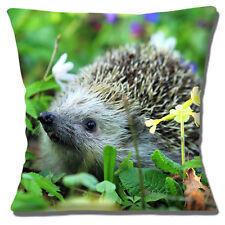 Hedgehog Cushion Cover 16 inch 40cm Cute Baby Animal Garden Flowers Photo Print