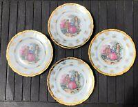 4 Porcelain Dessert Plates Victorian Courting Couple Pink Gold Edge Tea Party
