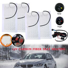 Universal 2 Seats Heated Seat Heater Kit 12V Carbon Fiber Round High/Low Switch