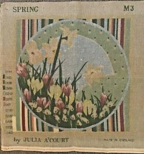 """Spring Julia A'Court Tapestry Canvas 15"""" x 15"""" Started. Canvas Only."""
