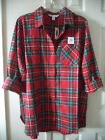 Classic! Old Navy Red Green Tartan Plaid Cotton Flannel Tunic Shirt 2X 18 20 XXL