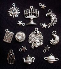 15 Gypsy Tarot Reader Charm Set Silver Tone Metal