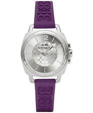 Coach Women's Boyfriend Purple Silicon Rubber Strap Watch 34mm 14502091 $175