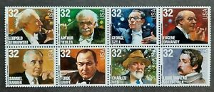 Block of 8 MNH USA 32c Classical Composers & Conductors SC# 3158-65