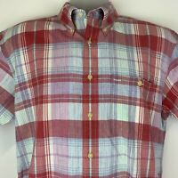 Pendleton Oceanside Mens Large Shirt Red Plaid Short Sleeve Button Front Cotton