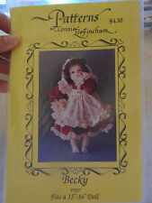 """Pattern for 16"""" doll CONNIE LEE FINCHUM dress,pinafore,bonnet & underwear BECKY"""