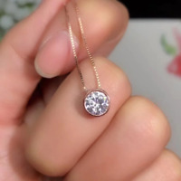 14K Rose Gold Finish 2Ct Round Cut Moissanite Bezel Solitaire Pendant Free Chain