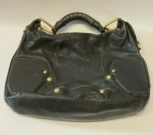 Juicy Couture | Large Black Leather Women's Hobo Handbag/Purse with Gold Studs