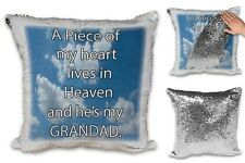 A Piece Of My Heart Lives in Heaven And He's My GRANDAD Sequin Cushion Cover