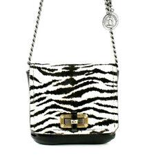 LANVIN $1,990 Zebra Pony Fur & Black Leather MINI POP Crossbody Bag
