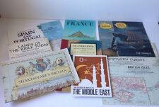 10 Vintage National Geographic Maps/School Bulletins Lot 1954-1984