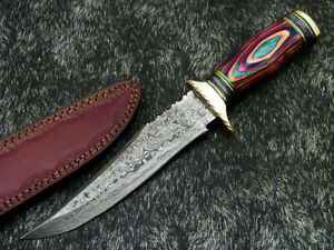 """Authentic HAND FORGED DAMASCUS 12"""" BOWIE HUNTING KNIFE - HARD WOOD - WD-8389"""