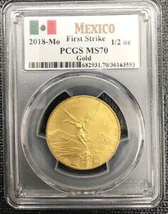 2018 Mexico 1/2 oz Gold Libertad PCGS MS70 First Strike