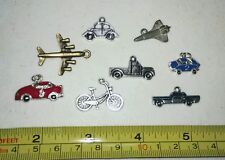 Transportation Race Cars Bicycle Airplane Jet Truck Set of 8 Charm Charms Diy