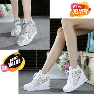 Casual Women Wedge Platform High Heels Lace Up Shoes Round Toe Sneakers Thick