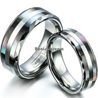 Tungsten Carbide Ring w Double Abalone Shell Couples Engagement Wedding Band