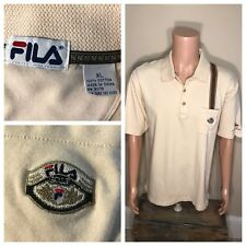 VTG FILA Borg Cream Polo Tennis Golf Shirt Size XL Golf Crest Mountain Shadows