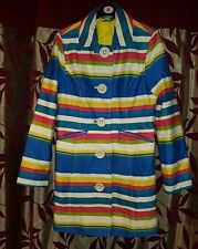 Boden Ladies Runway Blue Multicoloured Striped Coat Size UK 8 /US 4