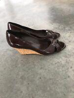 Franco Sarto Brown LeatherEspadrilles Wedges Shoes Open Toe Sandals R SZ 9 9M