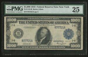 FR1133-B $1,000 1918 FRN NEW YORK PMG 25 VF+ VERY RARE ONLY 33 RECORDED WLN506