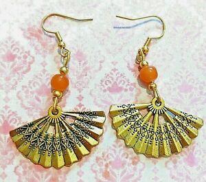 Earrings Vintage Inspired Fans Orange Stones Gold Tone UK Seller