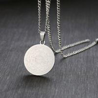 Silver Seven Seals of The Archangels Coin Pendant Men's 'Necklace Sweater Chain