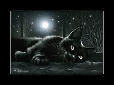 Gato de impresión de reclinación bajo la luna por me garmashova