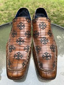 MARK NASON Rock Lives Men's Size 10 Brown Loafers Cross Made In Italy Shoes
