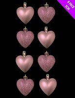8 x 5cm BABY PINK Glitter + Matt Heart Shaped Christmas Tree Baubles (DP155)