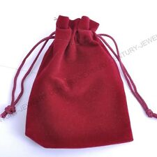 2pcs Wine Red VELVET Jewellery Drawstring Gift Bag POUCHES Many 90X120MM