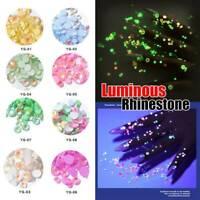 250PCS Nail Rhinestones Crystal Luminous Gems Glow In The Dark 3D Nail Art Decor