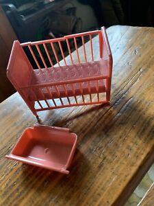Plasco NURSERY CRIB Vintage Dollhouse Furniture Plastic 1:16 D3 Broke