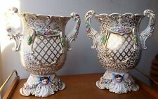 a pair large old paris vieux paris vases angels gilded antique porcelain