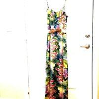 ATTENTION Womens M Multicolor Tropic Floral Spaghetti Straps Belt Maxi Sun Dress
