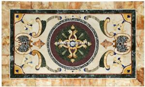 Modern White Marble Slab Dining Table Tops Mosaic Traditional Inlay Design H3881