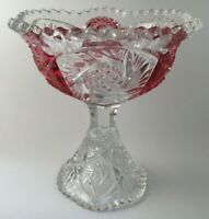 """Crystal Glass Pedestal Compote Bowl Clear Cranberry Trinket or Candy Dish 6"""""""