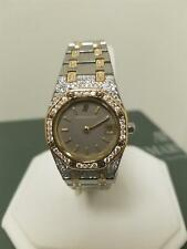 "GENUINE AUDEMARS PIGUET ROYAL OAK LADIES STEEL& 18K GOLD ""DIAMONDS EVERYWHERE"""