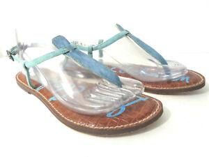 SAM EDELMAN Gigi US 8.5M Blue Pony & Suede Leather Thong Sandals Flats Shoes