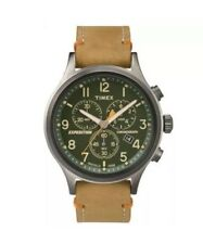 (A92)Timex TW4B04400, Men's Expedition Chronograph Leather Watch, Indiglo, Date