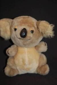 "Koala Bear Gray Tan Hard Plastic Black Nose Vintage Russ Plush 9"" Lovey Toy"