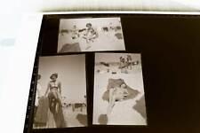 drei tolle alte Negative - hübsche Frau am Strand - Bikini - 60-70er Jahre ?