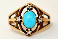 Antique 14K Solid Gold, Natural Turquoise and Diamond Ring Size 3 1/4