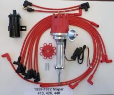 small cap 59-72 MOPAR 413 426 440 RED HEI Distributor + BLACK Coil + Plug Wires