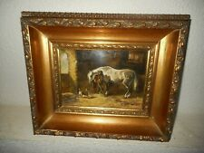 Old oil painting,{ Stable scene with horses & dogs, is signed, nice frame }.