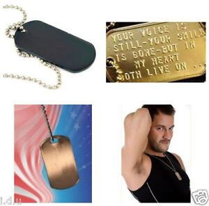 MILITARY DOG TAGS US STYLE ID TAG BLACK STEALTH/BRASS/COPPER PERSONALISED FREE