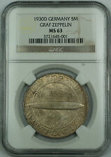 1930 D Germany 5 Mark Silver Coin Graf Zeppelin NGC MS-63 Nice Original GK