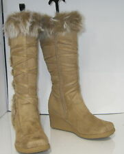 "Camel Color 3"" High Wedge Heel Knee Boots Fur On The Top Size 5"