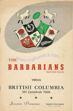 BRITISH COLUMBIA v BARBARIANS RUGBY PROGRAMME 1957 - CANADIAN TOUR