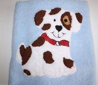 Ashley McBride Soft Plush Dog Baby Blanket White Brown Spot Puppy Security Lovey